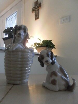 LLADRO DOG IN BASKET 1128 & GENTLE SURPRISE 6210 MINT CONDITION FAST SHIPPING!!!