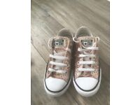 Rose Gold Glitter Converse Trainers Size 1