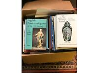 Box of books on antique collecting