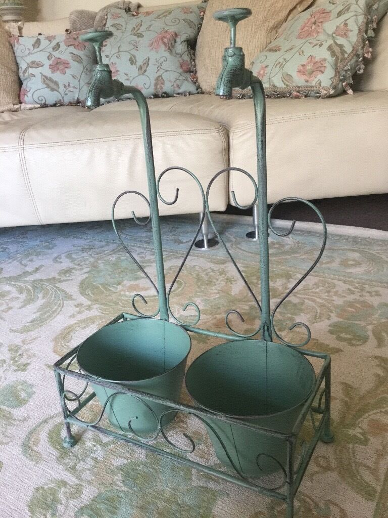 New Shabby Chic French Double Egg Duck FAUCET PLANTER, Pots, Window boxes