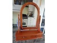 Antique Pine Stand alone dressing table mirror