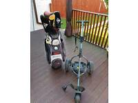 Motocaddy s1 golf caddy bag and clubs battery and charger