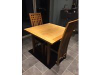 Oak top table with 3 chairs