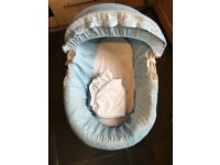 White rocking Clair De Lune Moses basket and stand