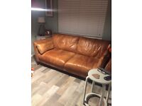 Dfs tan leather 3 seater sofa vgc only selling due to change of decor