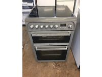 Hotpoint HUE61 60cm Double Electric Cooker in Silver #3875