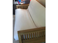 Top of the range fantastic 3 seater solid oak frame futon with mattress and cover, all Futon Company