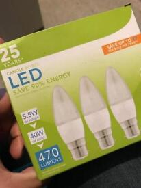 LED Small Bayonet Light Bulbs. Pack of 3