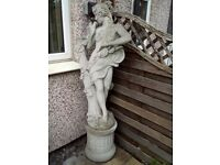 Large stone statue -classical lady on fluted plinth