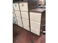 Beige & Brown Metal Filing Cabinet