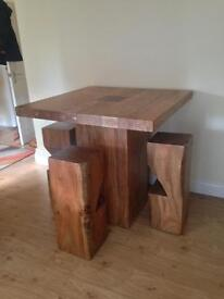 Solid wood table & solid wood stools