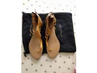 Tan & mustard yellow leather sandals by Shoes of Prey. Size 38/39