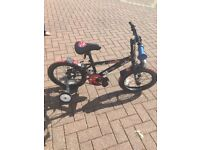 BOYS APOLLO URCHIN BIKE AGE 4-6 - HARDLY USED! TYRES NEED REPAIRING AS KEEP GOING FLAT - CHEAP!!!