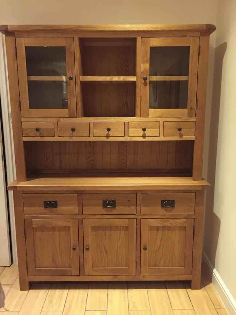 Solid Oak Welsh Dresser Matching Dining Table And Chairs