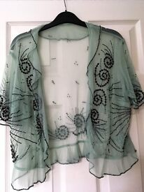 Green bolero lace throwover top with brown beads