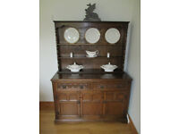 Vintage Welsh Dresser - 2 piece - Dark Oak - 2 Drawer and 2 Cupboards - GREAT CONDITION
