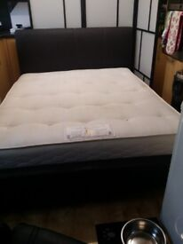 Faux leather king size bed and orthopaedic mattress dark brown (nearly black) kingsize