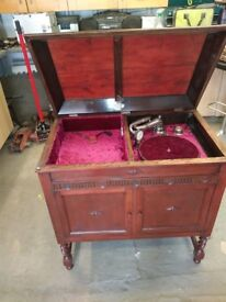 Gilbert gramophone in working order with needles and a few records
