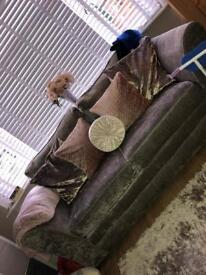 Crushed velvet effect 2 large 2 seater sofas