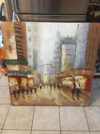 Large Middle Eastern street scene oil on canvas