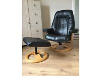 Black Real Leather Chair & Matching Footstool