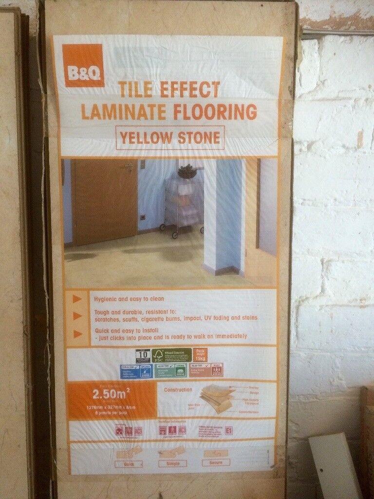 B&Q Tile effect laminate flooring 'yellow stone' made for splash areas; kitchen bathroom etc. ⭐️
