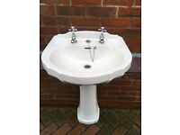 Heritage washbasin & pedestal in white complete with heritage chrome taps.
