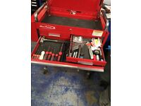 Blue point tool box rollcab with side bench and pry bar holder