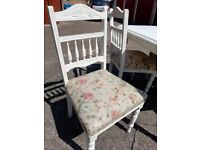 4 Vintage chairs with a solid pine table, aged shabby chic finish.