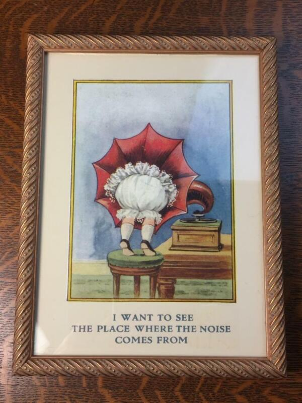 """Vtg Framed Phonograph Print """"I Want To See The Place Where The Noise Comes From"""""""
