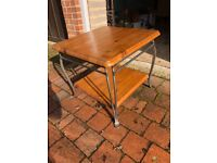 """Ducal side table """"winchester"""" design, forged steel legs under a pine top"""