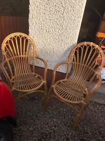 £12 Two bamboo wood kitchen chairs