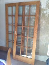 Internal glazed doors, wood, not veneer, bevelled glass panes