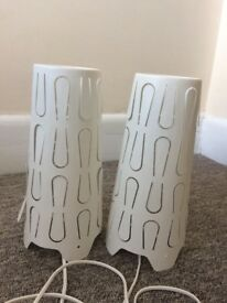 Two ikea bed side table lamps