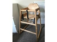 Solid wooden high chair. Bought for grandchild, very little use.
