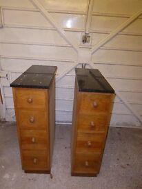 Two handmade pine drawer units