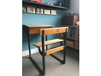 Vintage school desk, timber and steel with opening desk for storage