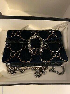 Gucci Dionysus Super Mini Bag Velvet Diamond GG Monogram Designer Blue