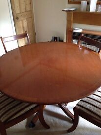 Lovely round dining table with 4 chairs. £70 ONO. Collection Only
