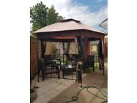 Gazebo metal frame with curtains