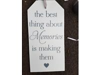 Large White Wooden Shabby Chic Door Hanging Plaque Sign – Best Thing About Memories is Making them.