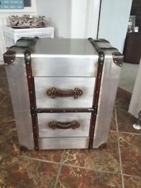 Silver antique style 2 drawer chest/trunk