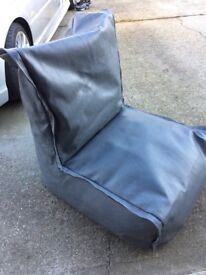 Grey leather bean bag