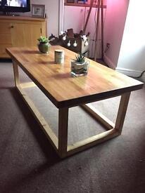 Bespoke hand made oak coffee table