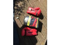 Boxing gloves and boxing pad