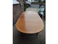 Mid century Teak Oval extending dining table