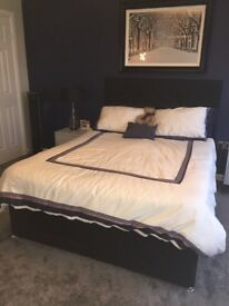 New price for quick sale! Black fabric Kingsize divan and headboard