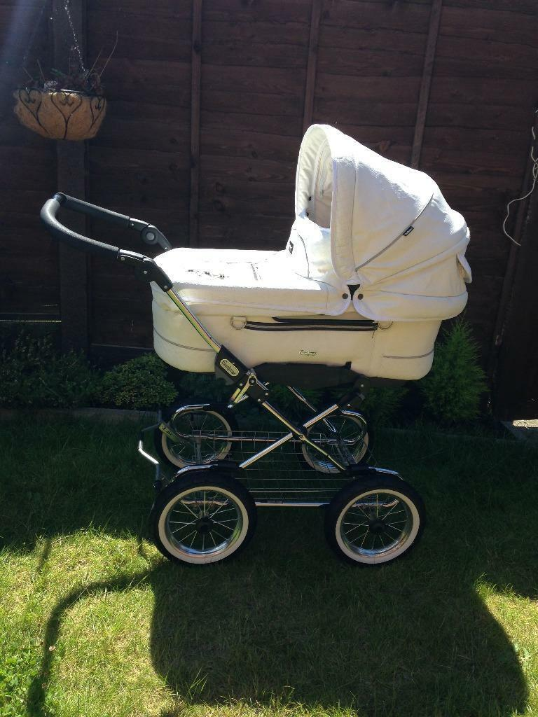 Emmaljunga Pram Pushchair White Leather In Mansfield