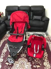 Mothercare Red Pram Pushchair and Car Seat