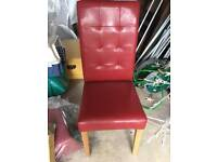 Red leather dining chairs BRAND NEW x2